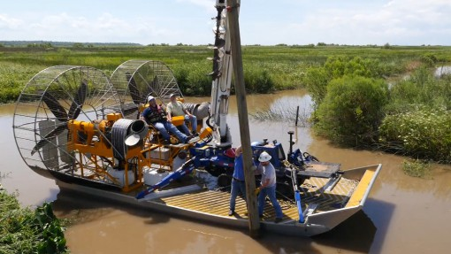 MTT Turbine Powered Airboats for Sensitive Wetland Work – MTT Turbine Airboat Rigged with Tools, Safety Gear, Utility Pole and Mini-Derrick Driller – https://www.marineturbine.com/turbine-powered-workboats/