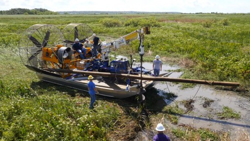 MTT Turbine Powered Airboats for Sensitive Wetland Work – MTT Turbine Airboat with Drill Rig on Dry Land – https://www.marineturbine.com/turbine-powered-workboats/